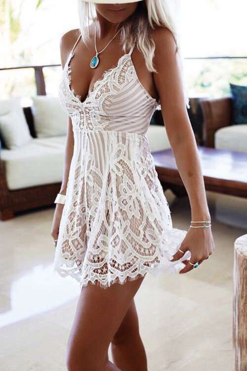 White Lace Spaghetti Backless Floral Romper