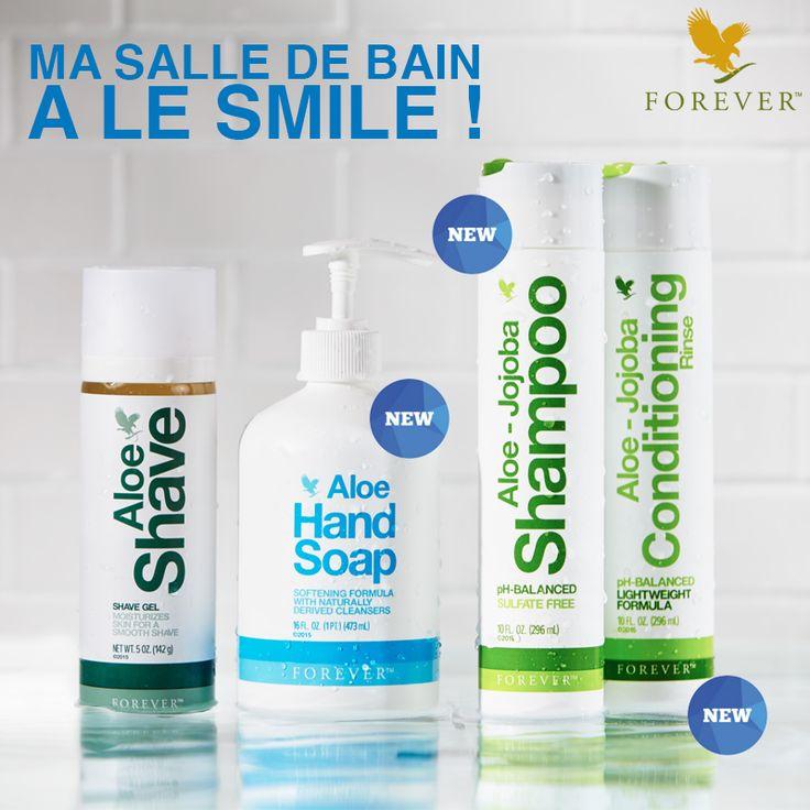 Ma salle de bain a le SMILE et moi avec ! Grâce aux 3 p'tits nouveaux Forever !!! Vive l'Aloe Vera ! Ref. 521 - Ref. 522 et Ref.523