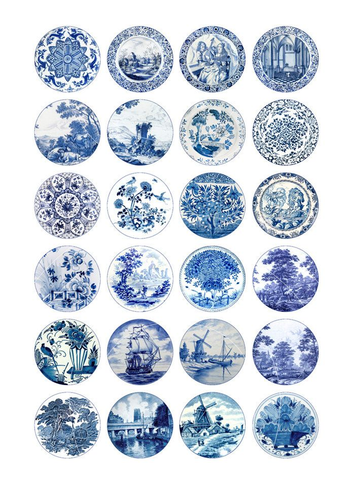 Delft Circles Digital Collage Sheet 20mm 18mm by MobyCatGraphics                                                                                                                                                                                 More