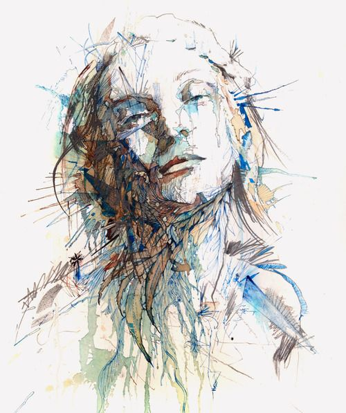 carnegriffiths:    Silence - Ink and tea on paper, Carne Griffiths: Art Illustrations, Inspiration, Carne Griffith, Ink Teas, Carnegriffith, Vodka, Portraits Drawn, Ink Paintings, Drawing