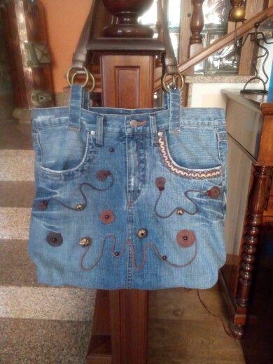 Pi di 25 fantastiche idee su borsa di jeans su pinterest for Borse fai da te jeans