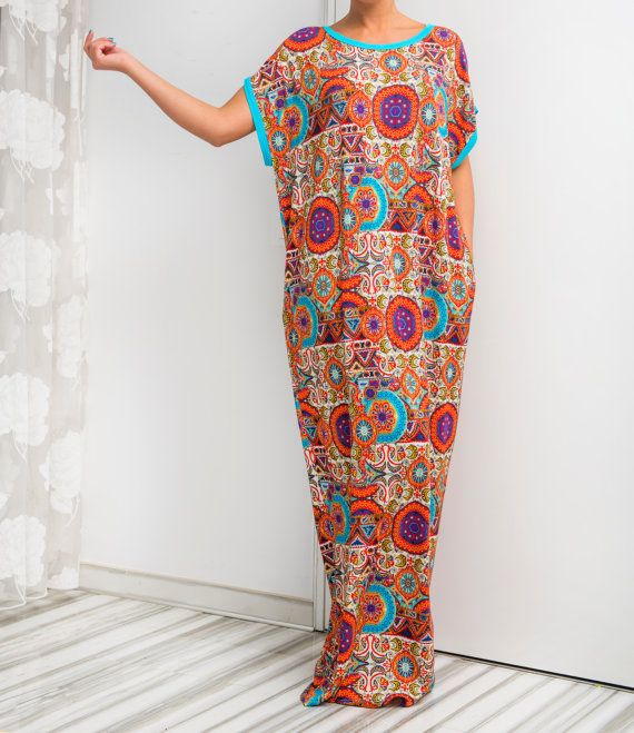 Multicolored Maxi Dress Caftan Abaya Summer by cherryblossomsdress