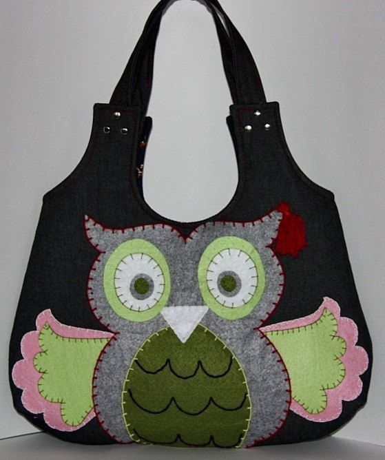 happy owl applique large colorfuldenim hobo bagpink by leyyabags, $30.00