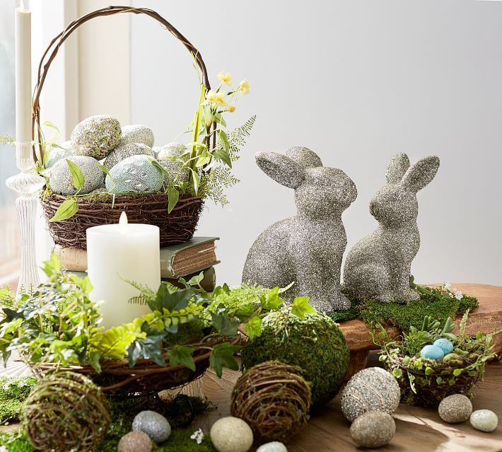 Adorable Easter Decor with cute bunnies and fancy decorated eggs. from #potterybarn #easterdecor #easter #eastereggs #easterbunny #ad #bbmaff #spring