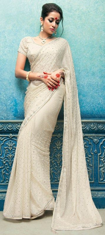 Party Wear Sarees, Chiffon, Lace, Stone, Zircon, White and Off White Color Family #saree #sari #blouse #indian #outfit  #shaadi #bridal #fashion #style #desi #designer #wedding #gorgeous #beautiful