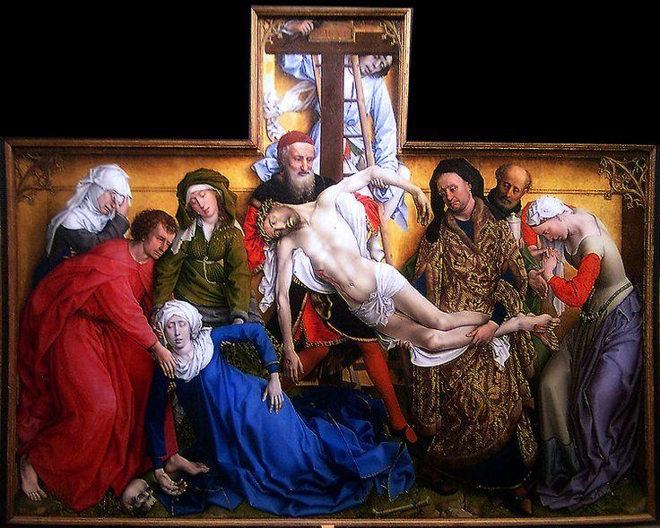Eje central: Cristo y la Virgen que cae desmayada  - lo ayudan a bajar a cristo, José de Arimetea  - Al lado de Nicodemus, monje y Magdalena(en paréntesis)  - del otro lado San Juan evangelista   ( en espejo con Magdalena), monje y María Salomé  - No hay profundidad, es equilibrado