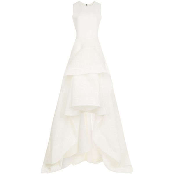Maticevski Ivory Waffle Sleeveless Present Gown ($4,050) ❤ liked on Polyvore featuring dresses, gowns, winter white dress, white ball dresses, structured white dress, white ball gowns and ball dresses
