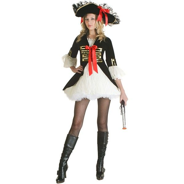 Sexy Pirate Captain Costume ($25) ❤ liked on Polyvore featuring costumes, halloween costumes, sexy halloween costumes, pirate halloween costumes, cutthroat pirate costume, pirate costume and elegant halloween costumes