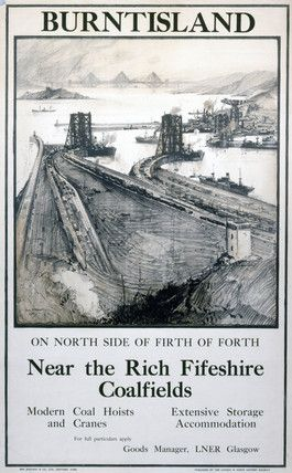 Poster produced for the London & North Eastern Railway, showing a sketch of the docks with railway sidings, coal hoists and cranes. The Forth Bridge is seen in the background. Artwork by Frank H Mason (1876- 1965), printed by Ben Johnson & Co Ltd, York. c. 1923