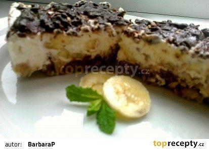 """Banánový """"cheesecake"""" s čokoládou a rumem recept - TopRecepty.cz"""