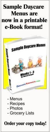 Sample Daycare Menu, toddler meal ideas