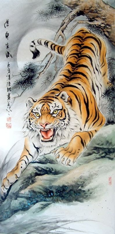 CHINESE PAINTINGS OF TIGERS   Chinese Paintings > Tiger