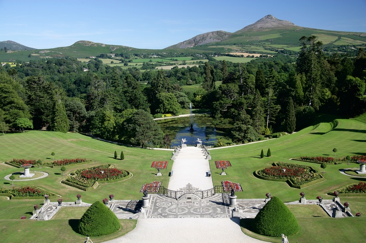 The magnificent view of the Sugarloaf Mountain from Powerscourt Gardens in County Wicklow. The ornate Italian terraces took 100 labourers 12 years to build! www.powerscourt.ie