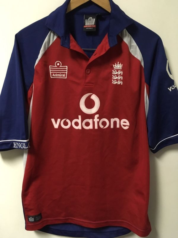 9dcaa4798 England Cricket Shirt Kit 2004 World Cup Admiral Vodafone Men'S Size Small  Euc