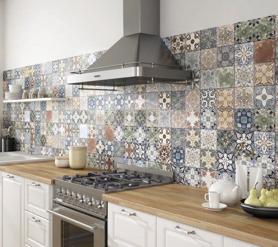 Tile Stickers Vintage Color Tiles For Kitchen Bathroom