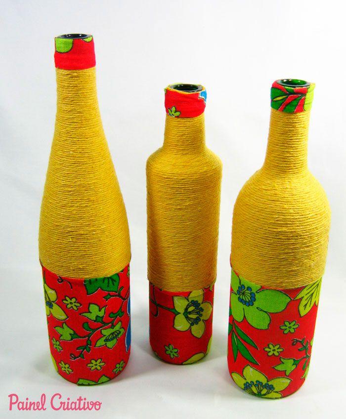 passo a passo centro de mesa festa junina garrafa de vidro decorada  barbante recicalgem (7)