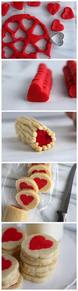 Slice n' Bake Valentine Heart Cookies | Cookies with hearts inside are so yummy and so cute. They will turn your meal into romantic adventure.Enjoy!