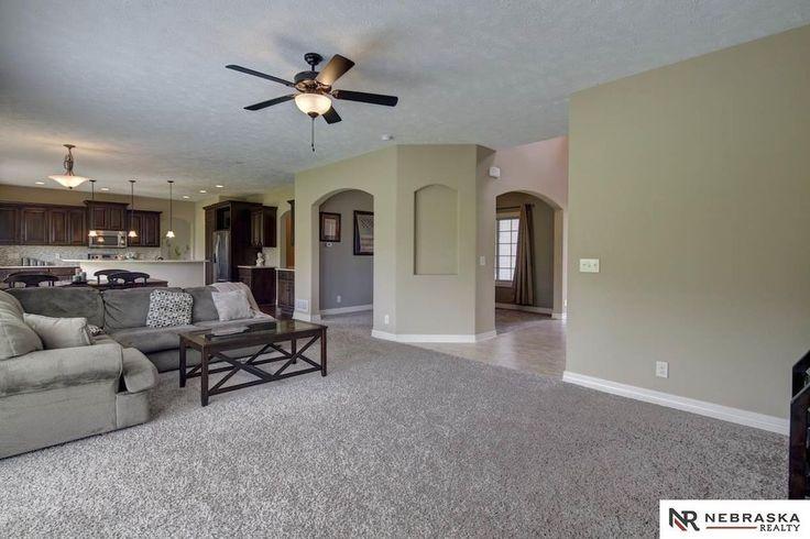 Traditional Living Room with Frieze Carpet, Carpet, Ceiling fan, flush light
