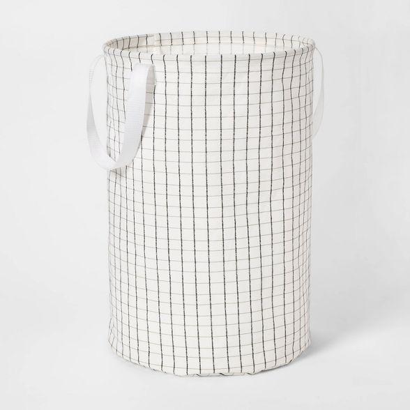Soft Sided Scrunchable Round Laundry Hamper Grid Pattern White