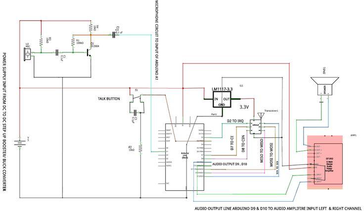 Arduino Walkie Talkie Circuit Diagram in 2020 | Arduino ...