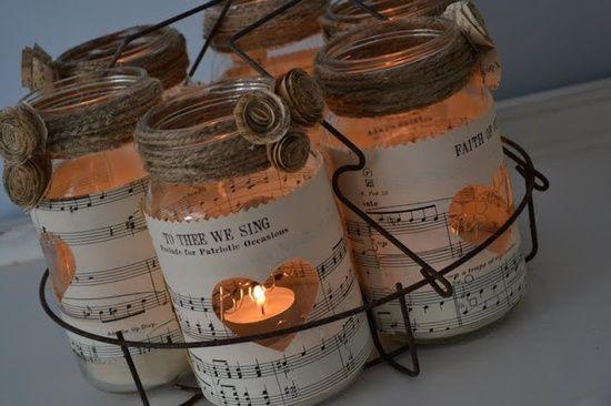 DIY....Mason jars with hearts cut out of music sheets  then Mod podged onto jar. bouts de tissu: Bocaux en folie......