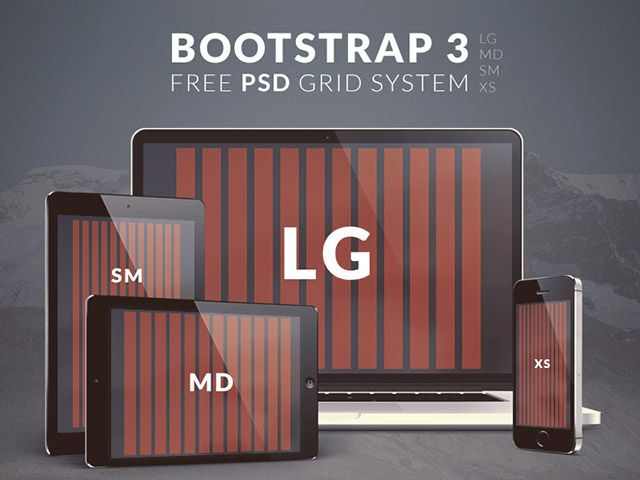 Bootstrap 3 standard grid system provided in 4 PSDs: LG, MD, SM and XS sizes. Free PSD released by Epeo.