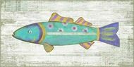 Aqua Blue Funky Fish Wall Decor