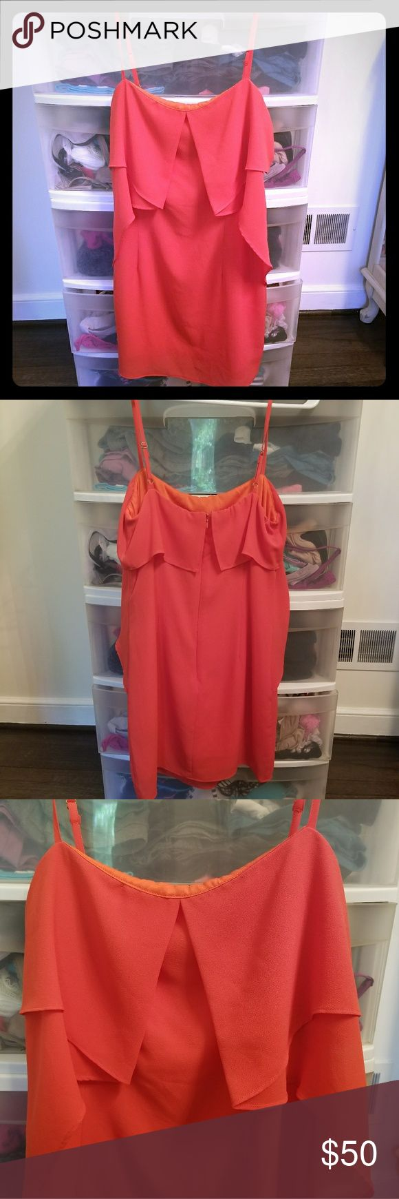 Gorgeous orange party dress! This fun and flirty mini party dress males a great girls night out or bachelorette party dress! Worn once, excellent condition. Fits snug but has a fun flowing top. Ark & Co Dresses Mini