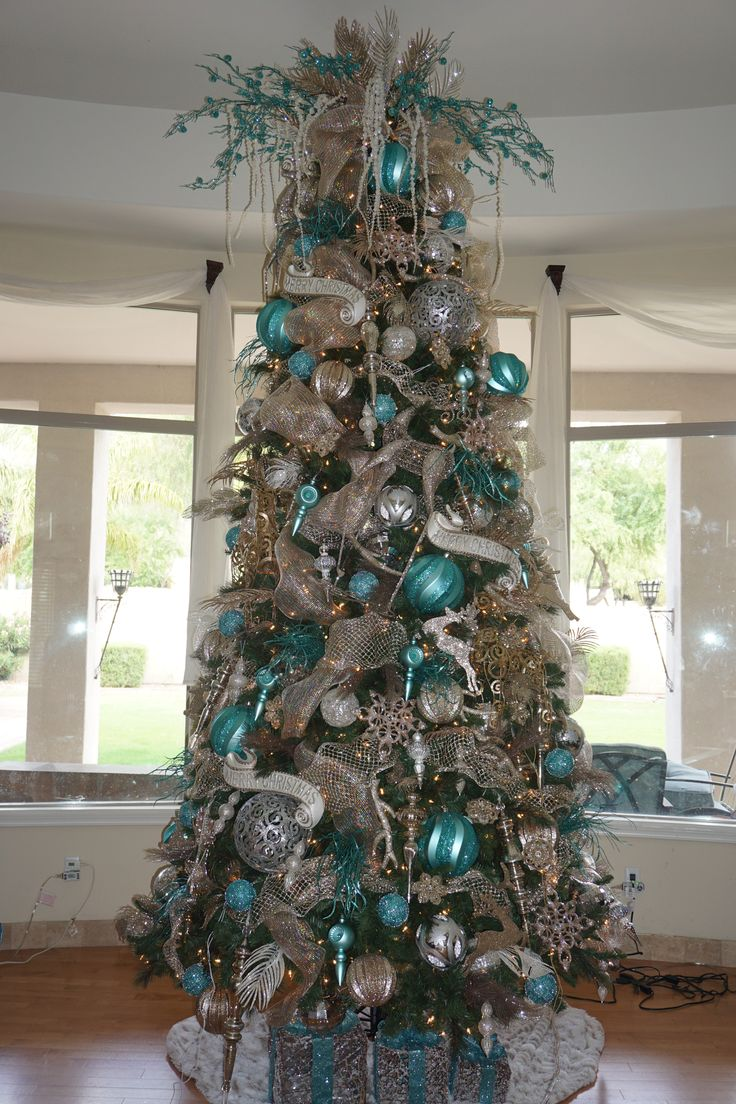 My Turquoise Silver And Champagne Christmas Tree
