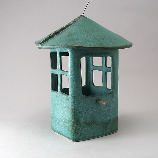 """Window Bird Feeder"" ceramic bird feeder by Cheryl Wolff. . .wonderful color"