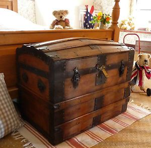 Antique Travel Trunks   OLD DOME TOP TRUNK Vintage Box OLD TRAVEL CHEST Domed Storage Chest ...