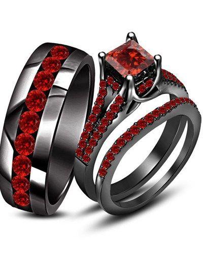 Black And Red Wedding Rings | Men's rings | Black wedding rings