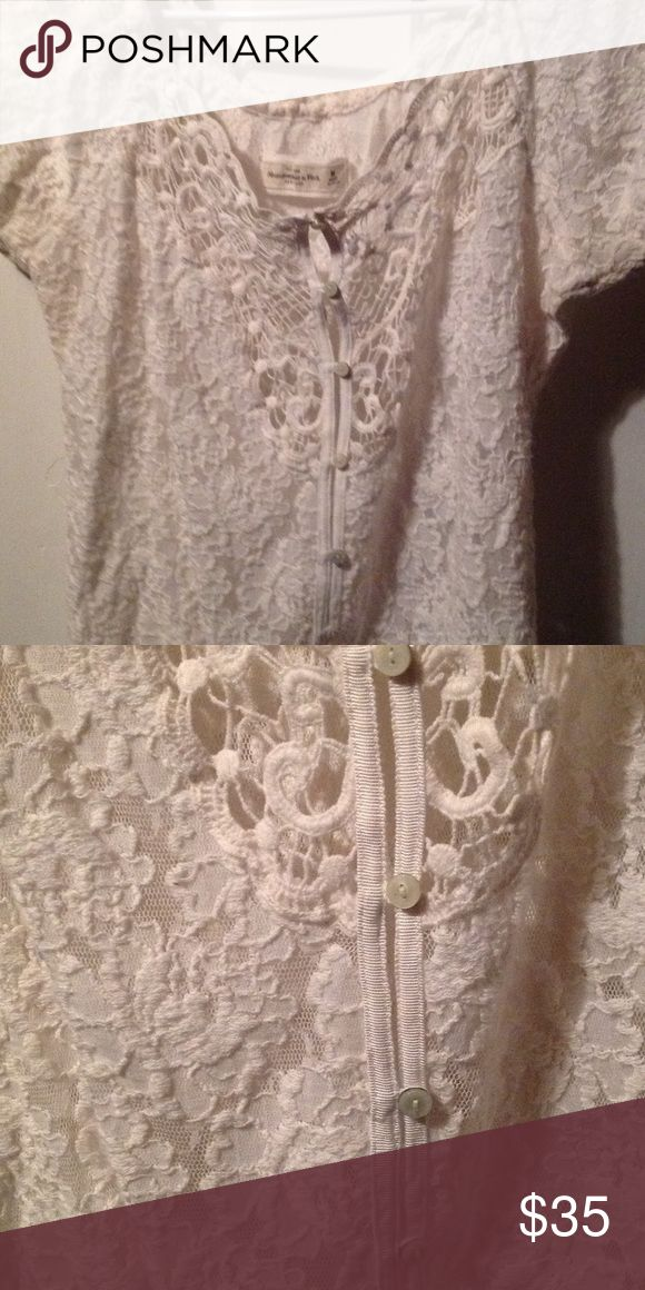 White crochet blouse Beautiful white crochet top with button down front. Abercrombie & Fitch Tops Blouses