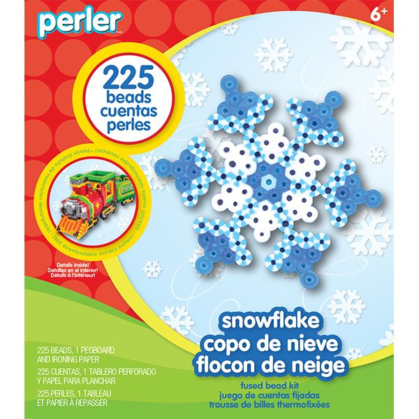 $1.99The Perler Snowflake fuse bead kit includes:  � 225 solid and striped beads  � Small hexagon pegboard  � Ironing paper  � Easy instructions  � Package also includes a link to download a FREE project pattern!