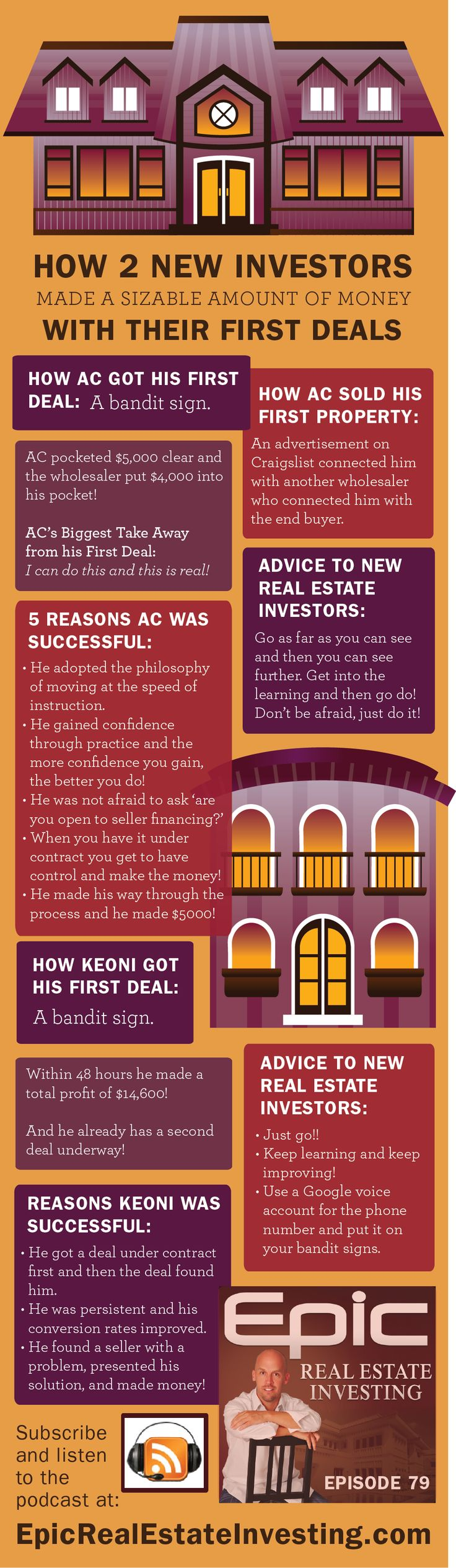 How 2 Brand New Investors Made Their First Paychecks in Real Estate | Epic Real Estate Investing #Podcast #Infographic