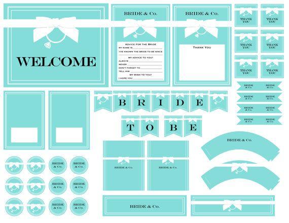 INSTANT DOWNLOAD - Bride & Co Bundle - Tiffany Theme Bridal Shower - DIY - Printable on Etsy, $20.00
