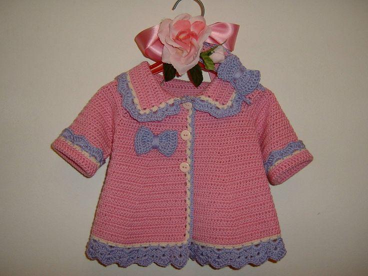 Golfino e fascia per capelli all'uncinetto-Mini cardigan di lana merino rosa, lilla e bianca-Giacchina di lana per bambina-Taglia 0-3 mesi