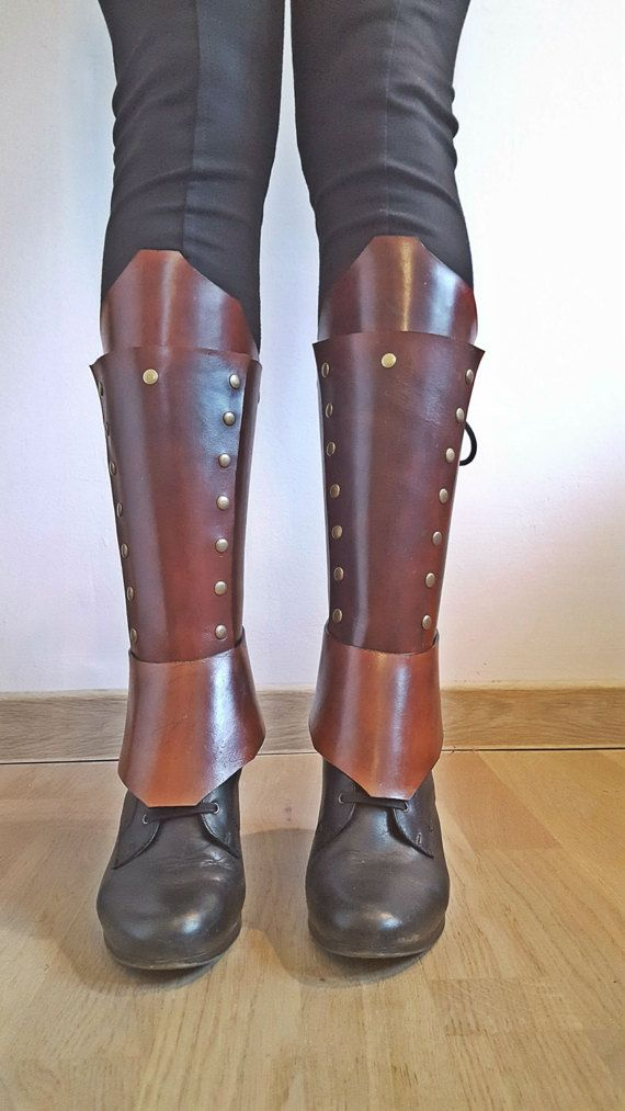 Advanced Brown Leather Greaves Gaiters Sabaton Men's Women's Unisex by CrusaderArmoury
