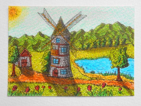 Aceo Landscape Art print  a windmill inspirational landscape