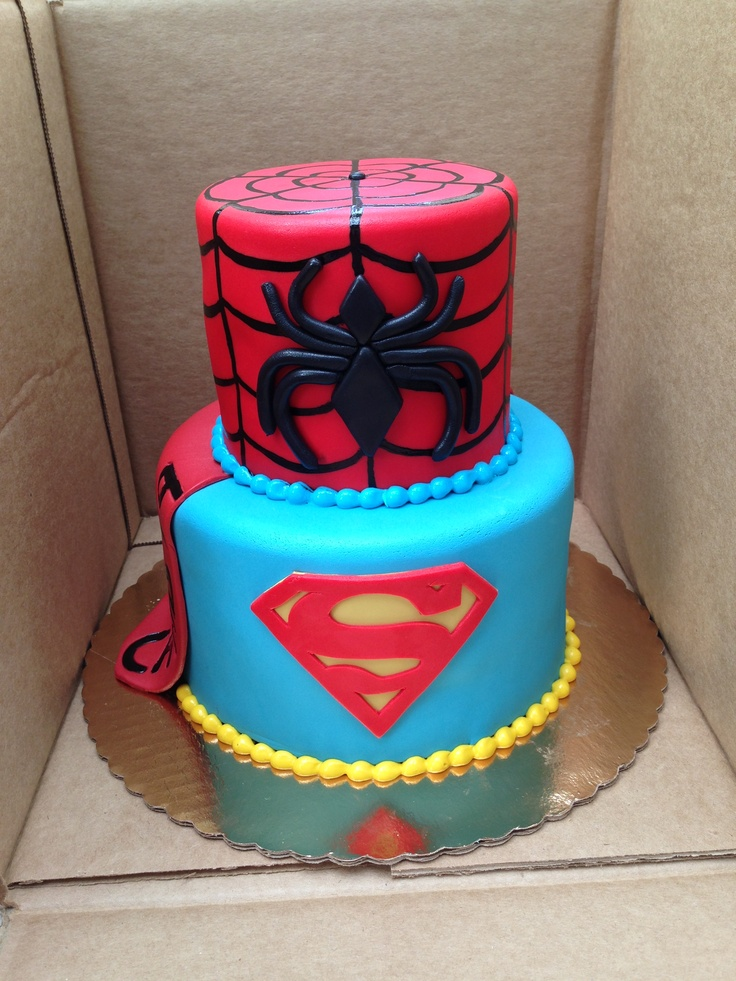 Superman and Spider-Man birthday cake cakes Pinterest
