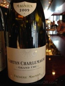 """2009 Frédéric Magnien Corton-Charlemagne Fairly transparent yellow screaming at us """"hey, I am too young to show you mine."""" C'est la vie! We let her warm-up a bit and the toasted vanilla cream subtly attacked our noses. Beautiful! A touch light on the palate, this dahlin' will be singing a different song in a few years…we expect it to be all about that bass, little treble by that time. Long, lingering, a touch tart finish. A winner and, yet again, our research of Robuchon Hong Kong's…"""