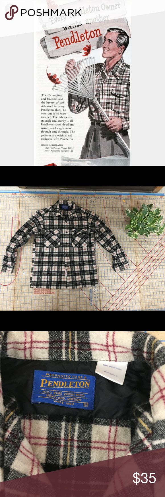 """Vintage/Retro Pendleton wool large shirt size sm In good condition vintage/retro Pendleton wool Macpherson tartan lodge shirt size small. Made in USA. Shirt is in good condition. Ha a small wear spot/hole on one sleeve. See pic. Plaid is black, white, red and yellow. This is a rougher wool and is probably best with an undershirt. True Americans lodge style. Shirt is 27"""" inlength, chest is 19"""" across and sleeve is 21.5"""". Pendleton Shirts Casual Button Down Shirts"""
