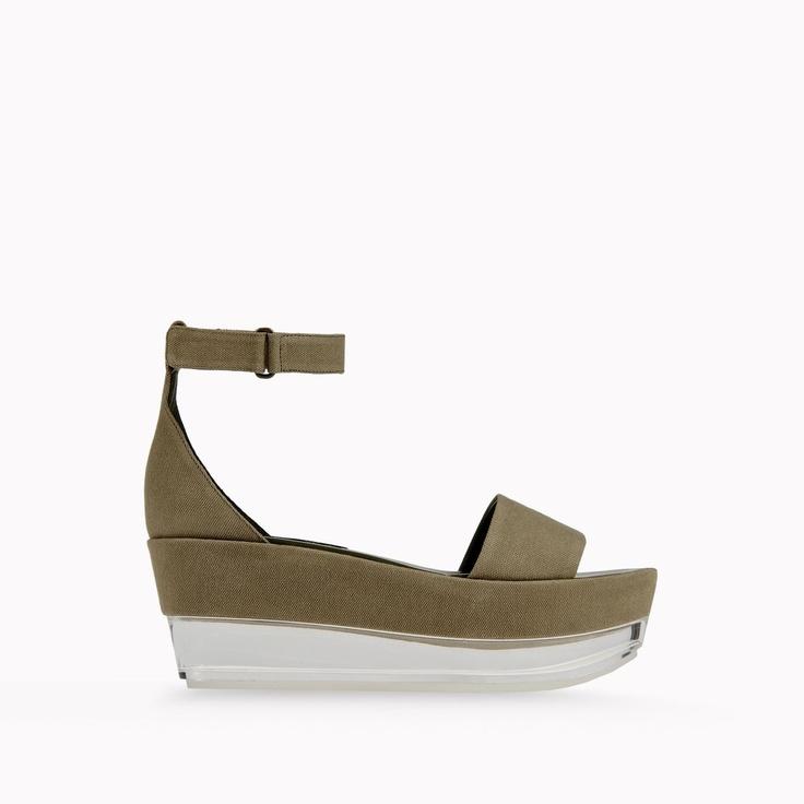 8104294063a Valerie Canvas Plexi Wedges ~ Ladies Wedge Sandals