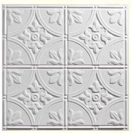 Genesis Designer Antique PVC Ceiling Tile 752-00, Waterproof & Washable, 2'L X 2'W, White