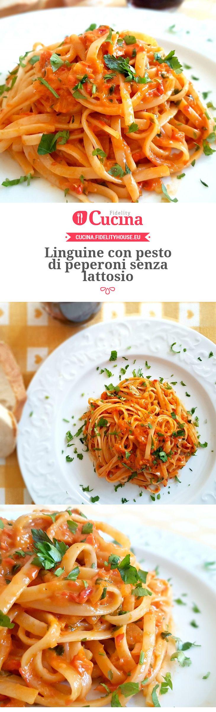 Linguine con pesto di peperoni senza lattosio della nostra utente Monica. Unisciti alla nostra Community ed invia le tue ricette!