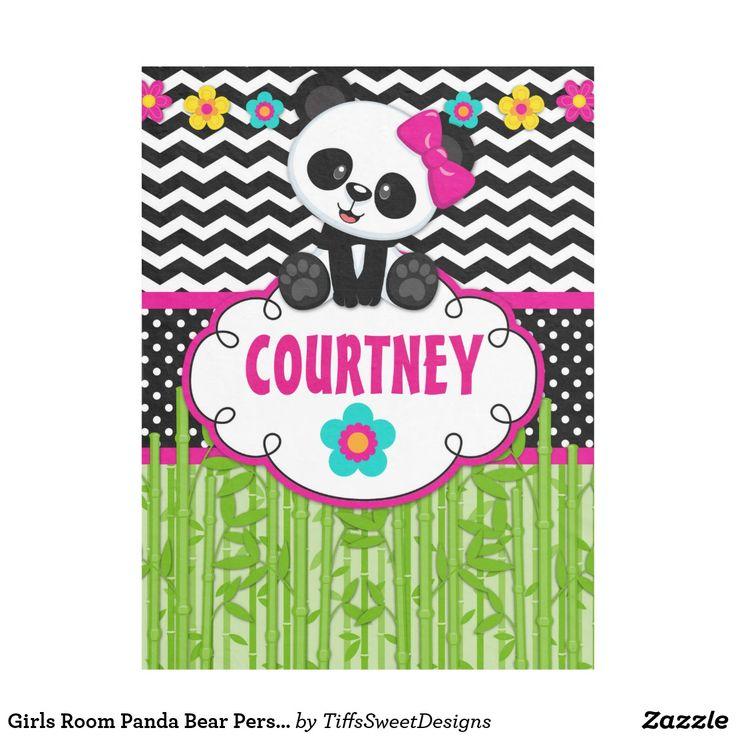Girls Room Panda Bear Personalized Throw Blanket
