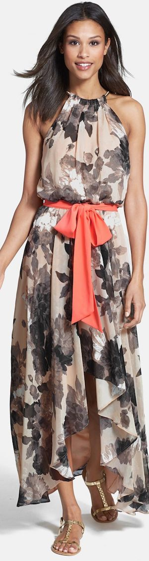 Eliza J Floral Print Chiffon High/Low Dress. #women #fashion outfit #clothing style apparel @roressclothes closet ideas