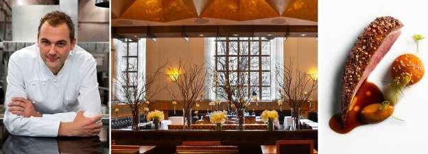 5. Eleven Madison Park in New York Chefkoks: Daniel Humm (foto) en Chris Flint  Soort keuken: Europees met een New Yorkse twist Signatuurgerecht: Eend met honing en lavendel, met appel en koolraap