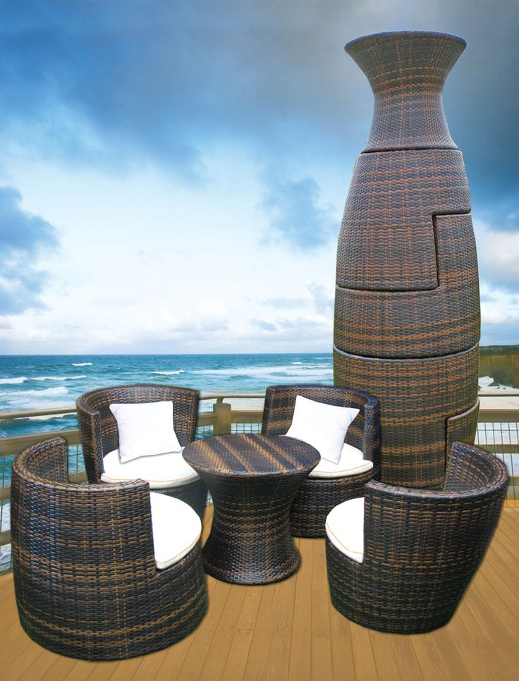an outdoor wicker patio set that stacks up into a large geometric vase for stylish storage