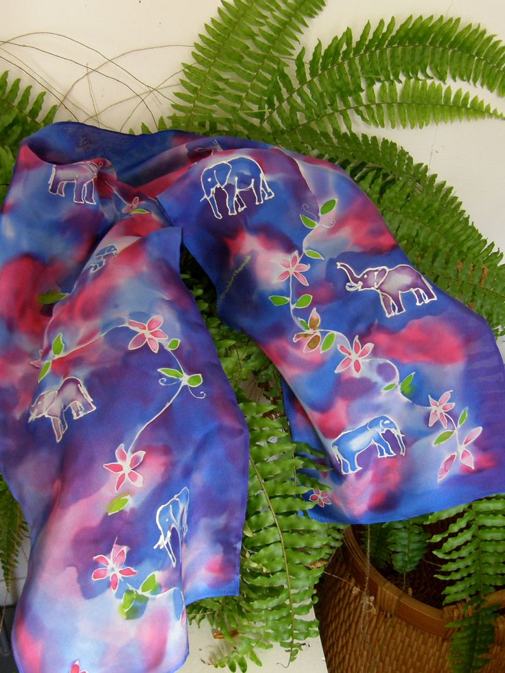 Elephant Parade Scarf. Pure Silk Hand Painted. A wonderful gift for Mothers Day.  See our MOTHERS DAY SALE  www.satherleysilks.co.nz